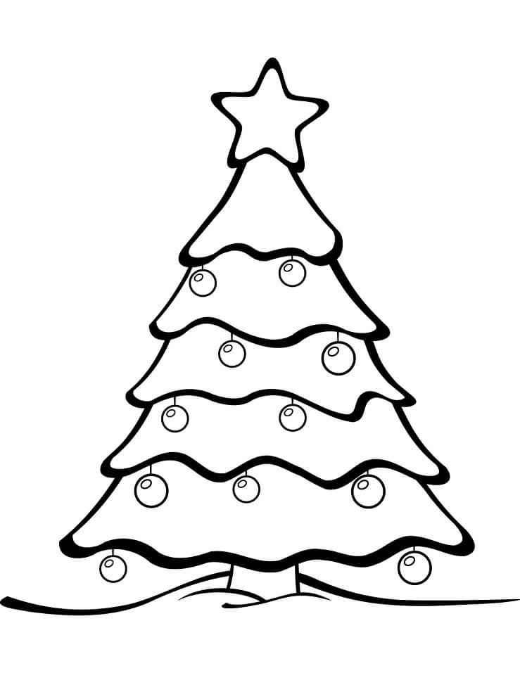 Раскраска елка и украшения 2