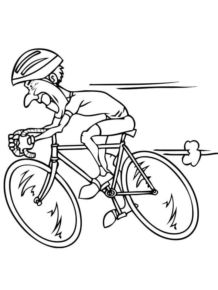 Раскраска Езда на шоссейном велосипеде