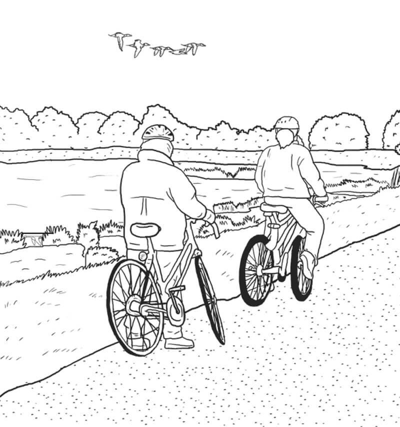 Раскраска Езда на велосипеде