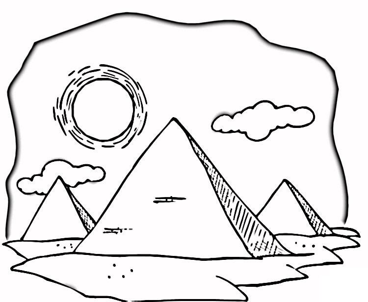 Раскраска Жаркая египетская пустыня