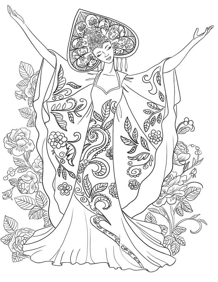 Раскраска Женщина в традиционном русском