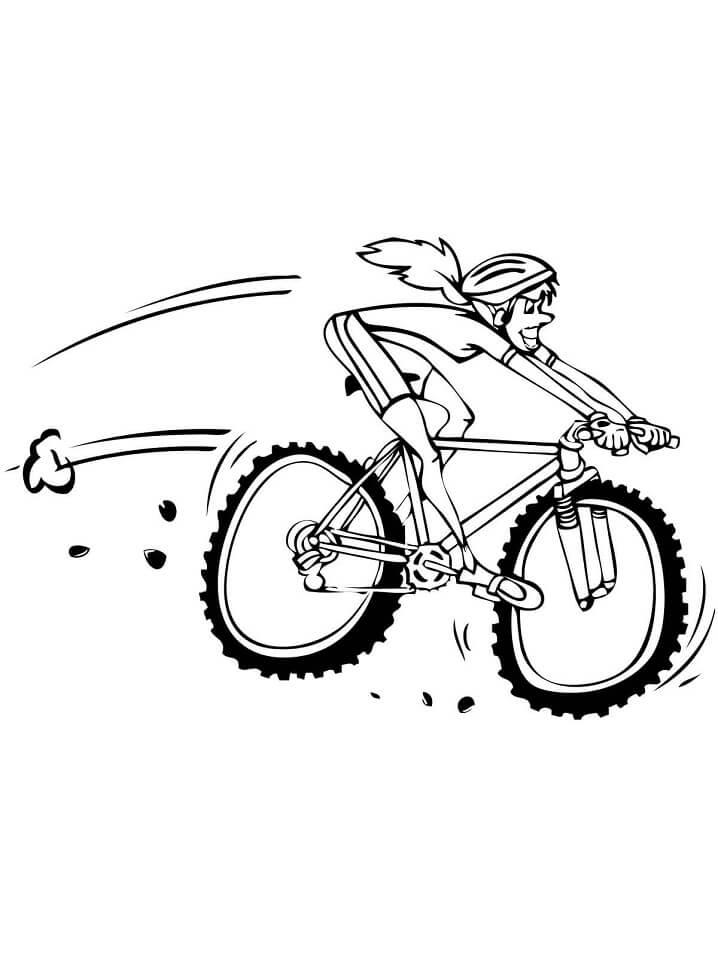Раскраска Женщина едет на горных велосипедов