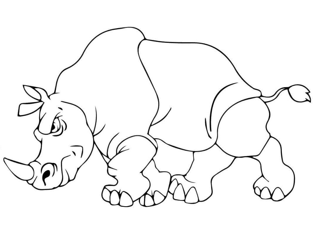 Раскраска злой носорог