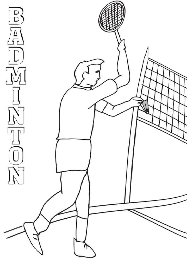 Раскраска человек играет в бадминтон 2