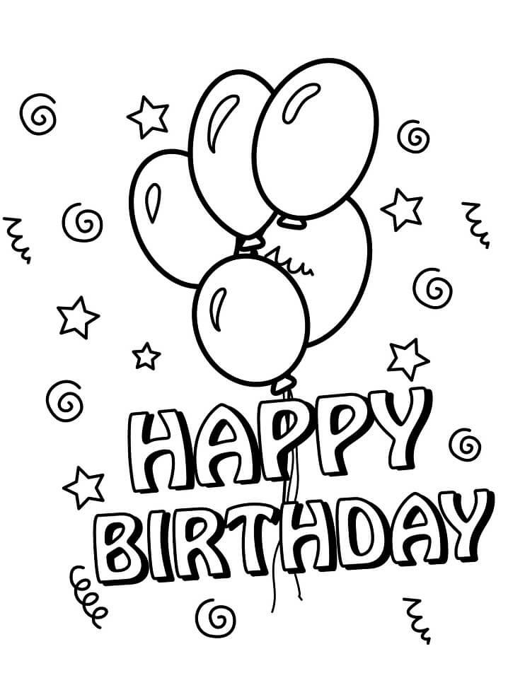 Раскраска день рождения воздушные шары 1