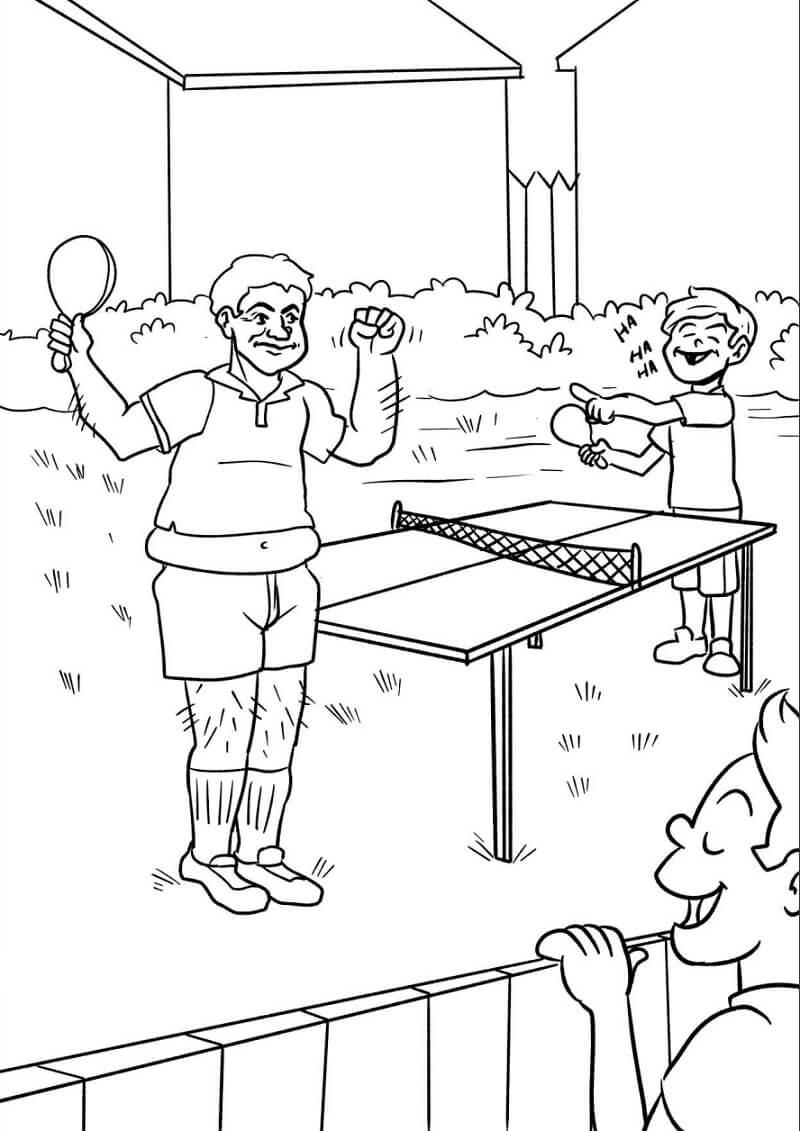 Раскраска играть в настольный теннис 11