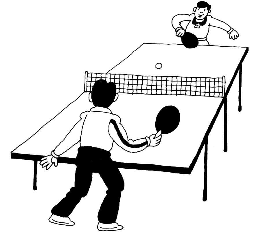 Раскраска играть в настольный теннис 15