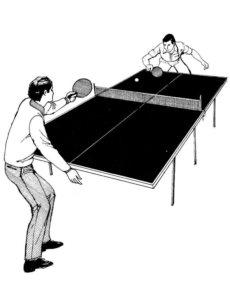 Раскраска играть в настольный теннис 3