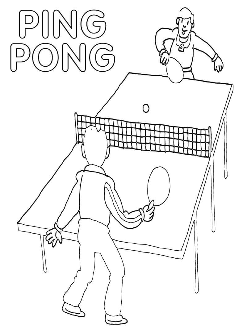 Раскраска играть в настольный теннис 6