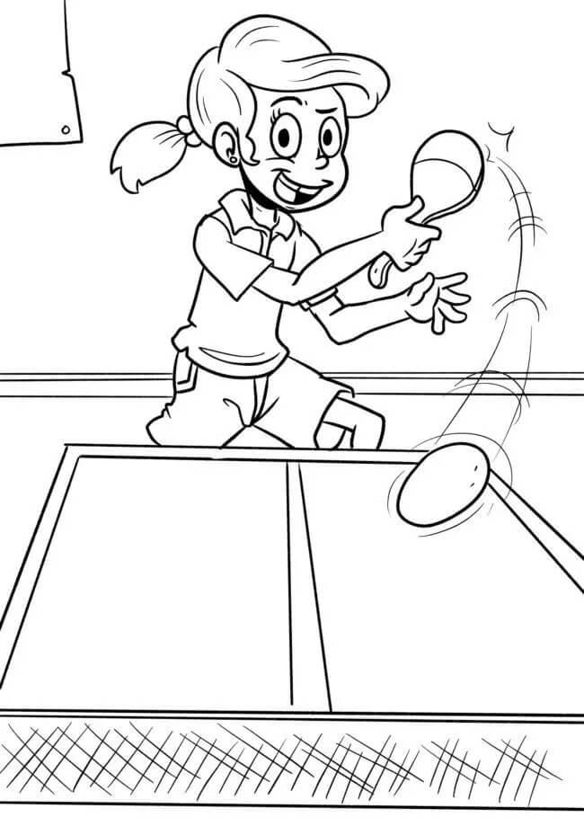Раскраска играть в настольный теннис 7