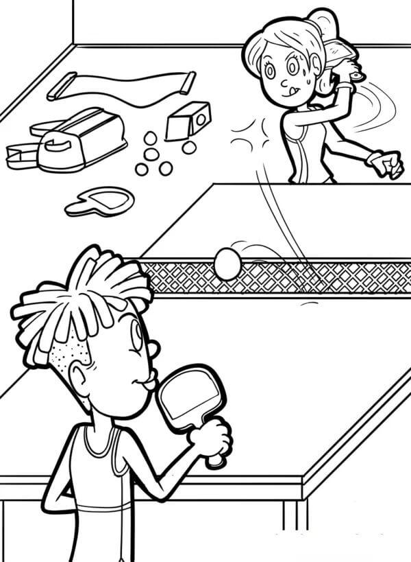 Раскраска играть в настольный теннис 8