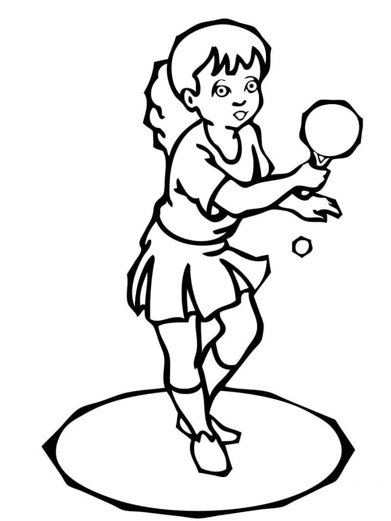 Раскраска играть в настольный теннис