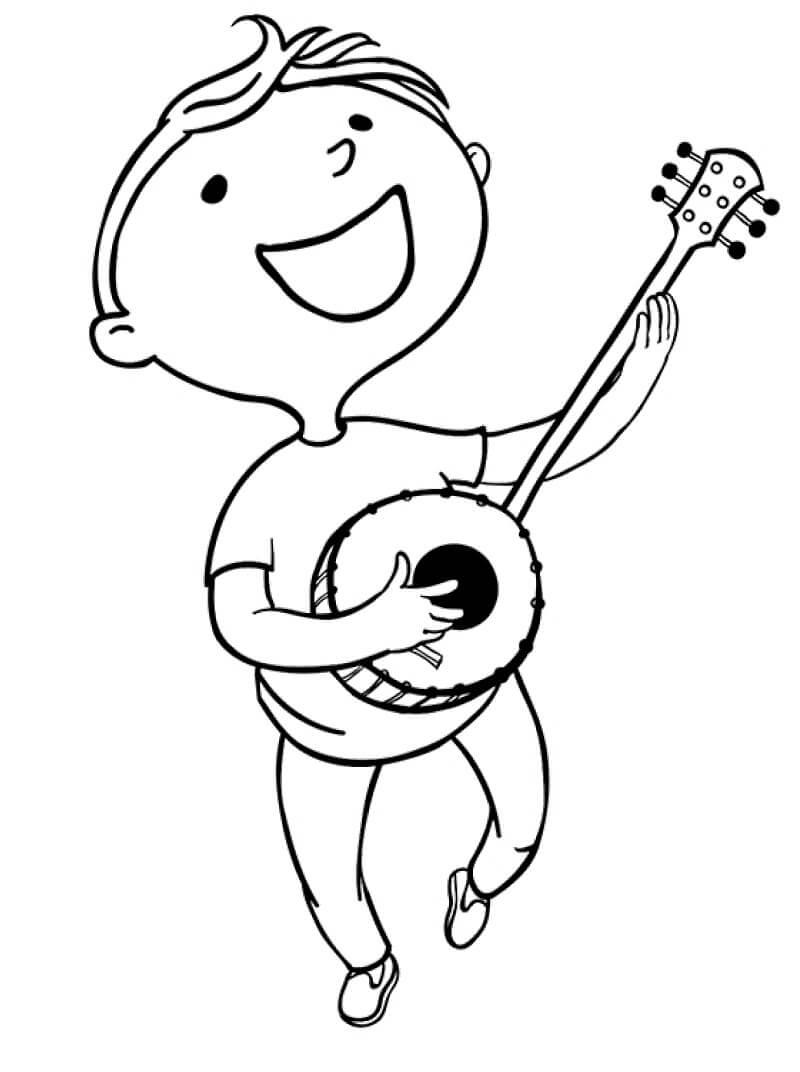 Раскраска мальчик играет на банджо