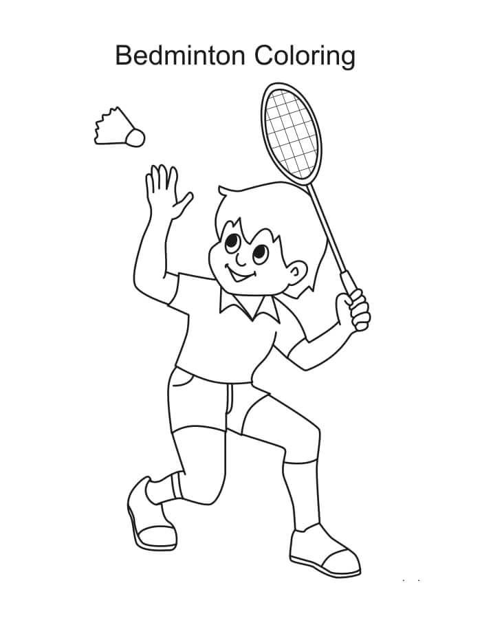 Раскраска мальчик играет в бадминтон 1