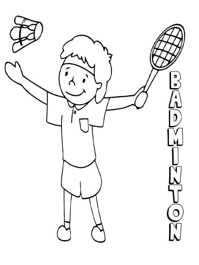 Раскраска мальчик играет в бадминтон 2