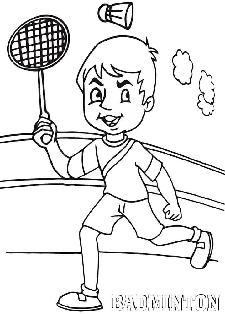 Раскраска мальчик играет в бадминтон 3