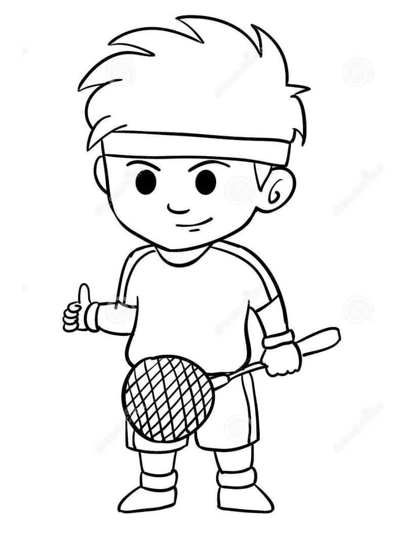 Раскраска мальчик играет в бадминтон 4