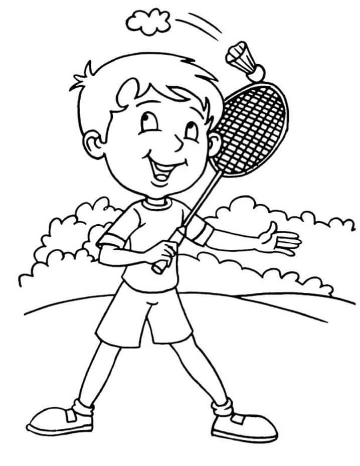 Раскраска мальчик играет в бадминтон 5
