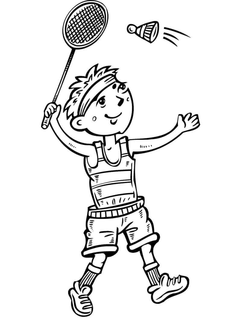 Раскраска мальчик играет в бадминтон 7