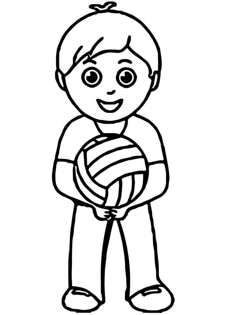 Раскраска мальчик играет в волейбол 1