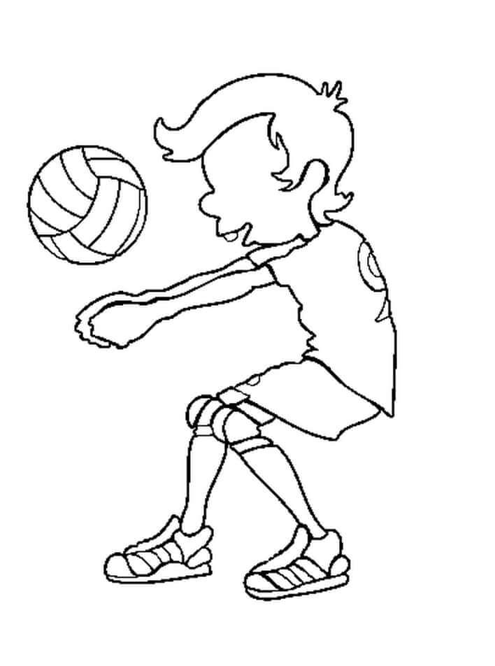 Раскраска мальчик играет в волейбол 2