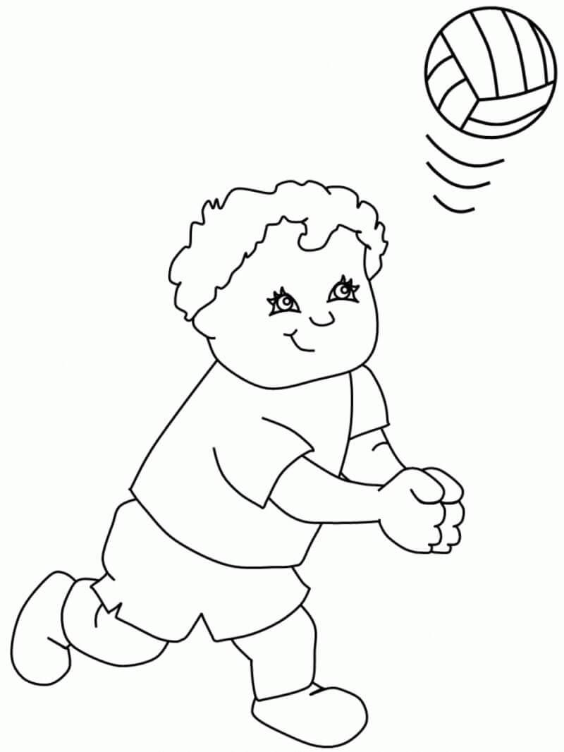 Раскраска мальчик играет в волейбол 3