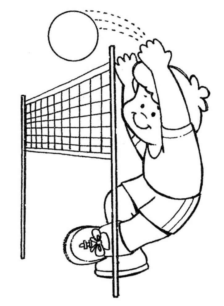 Раскраска мальчик играет в волейбол 4