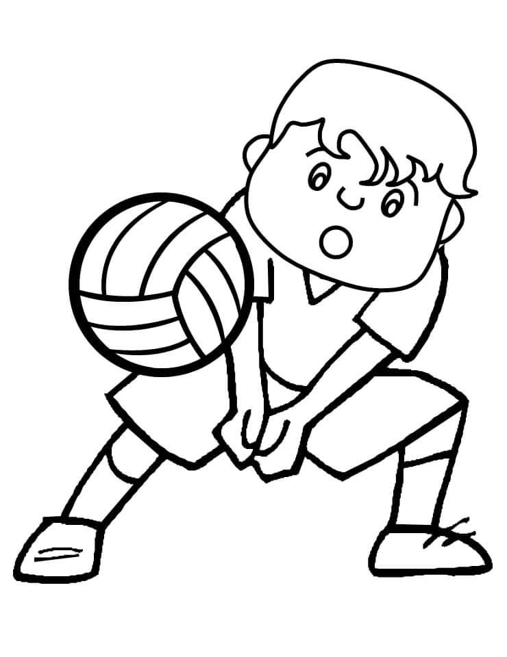 Раскраска мальчик играет в волейбол 5