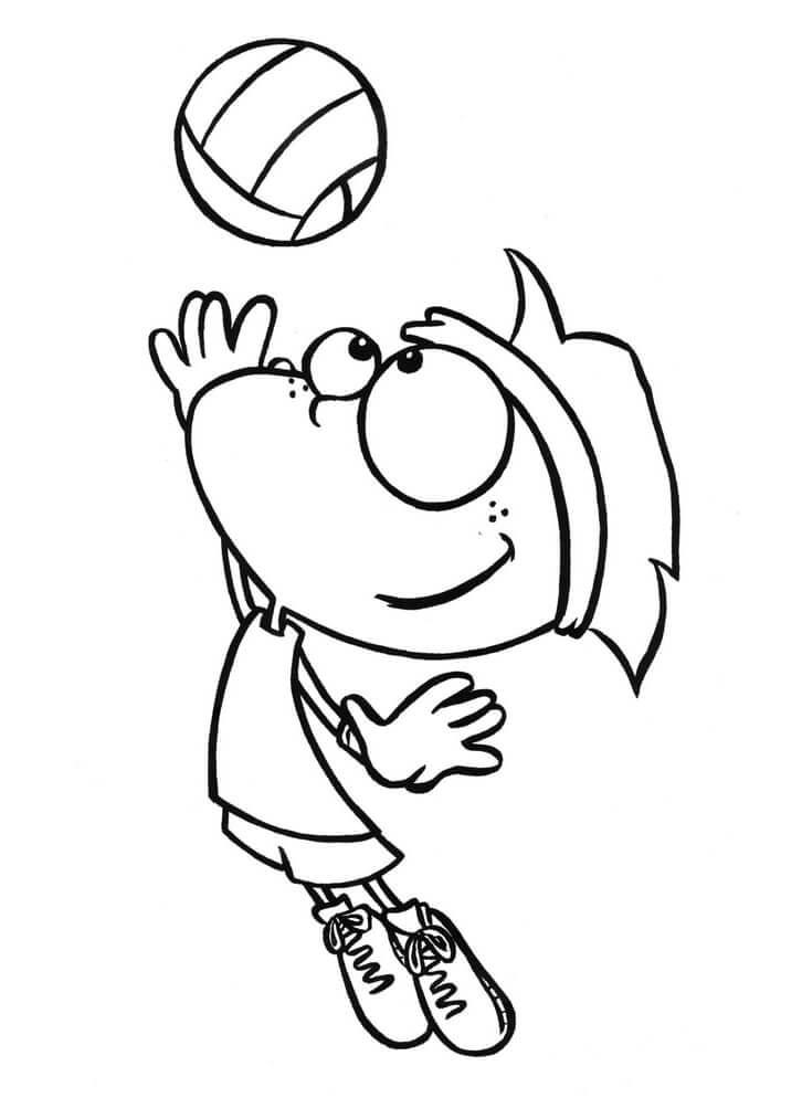 Раскраска мальчик играет в волейбол