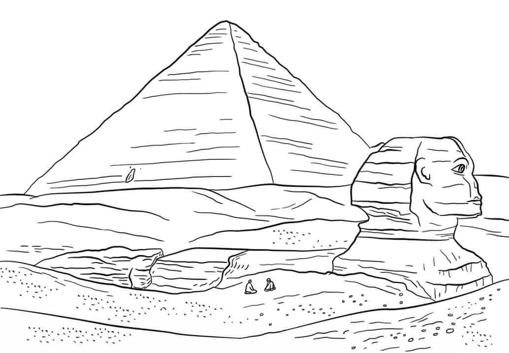 Раскраска Сфинкс и Пирамида Хеопса