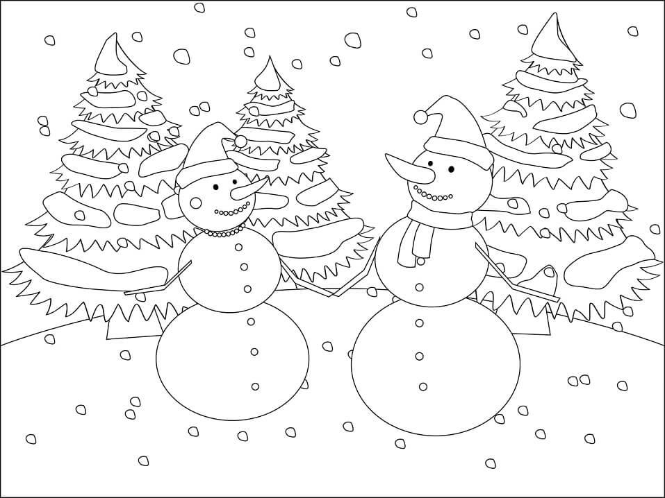 Раскраска Раскраски Снеговик