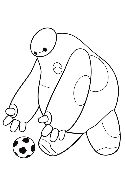 Раскраска Беймакс с мячом