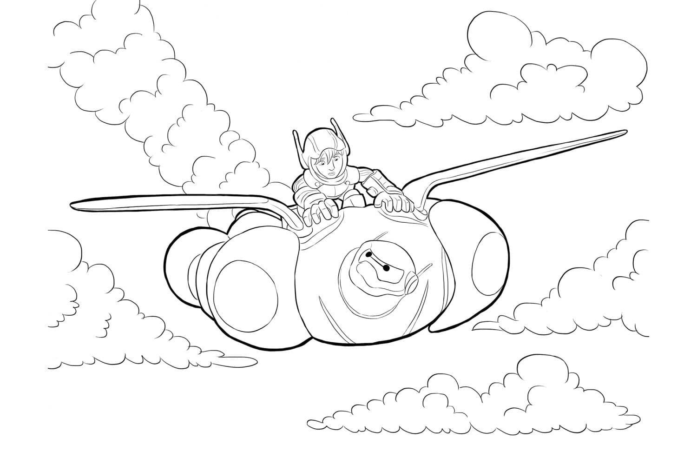 Раскраска Хиро летит на Беймаксе