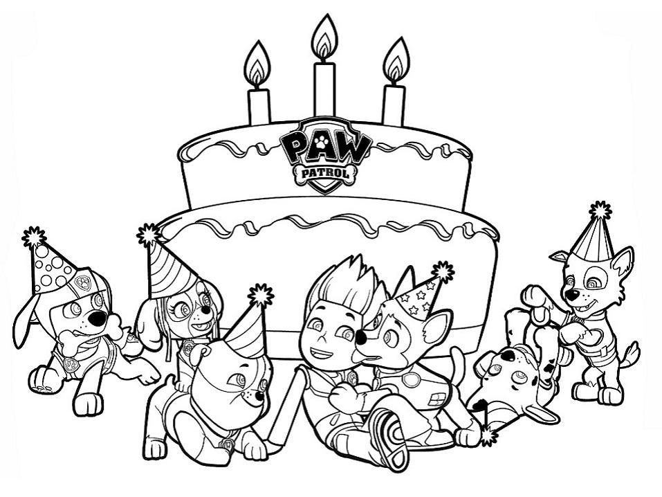 Раскраска День рождения Райдера