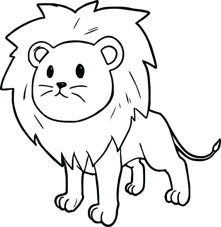 Раскраска милый лев
