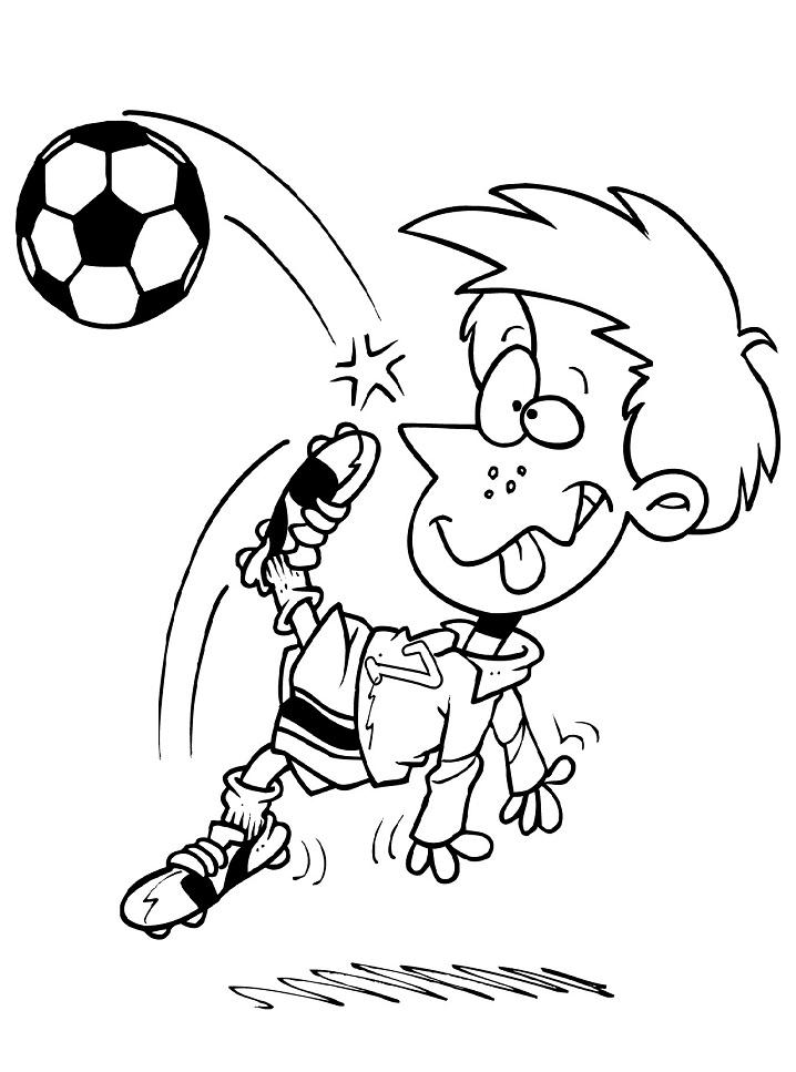 Раскраска забавный мальчик пинает мяч
