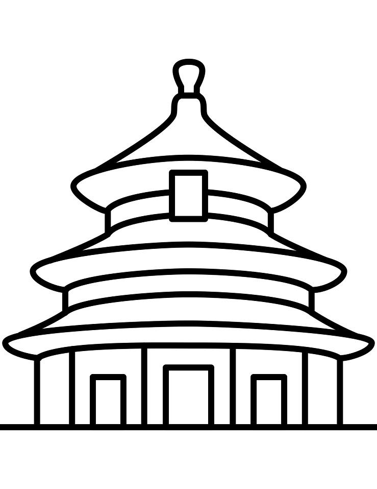 Раскраска Храм Неба в Пекине
