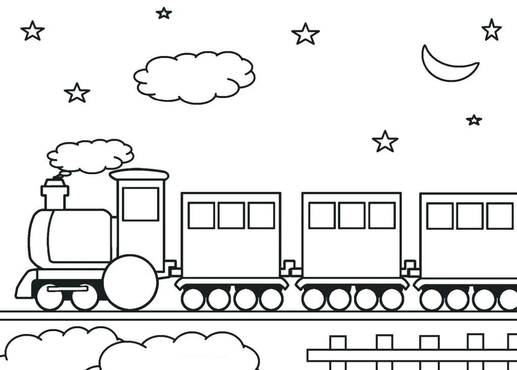 Раскраска поезд вечером