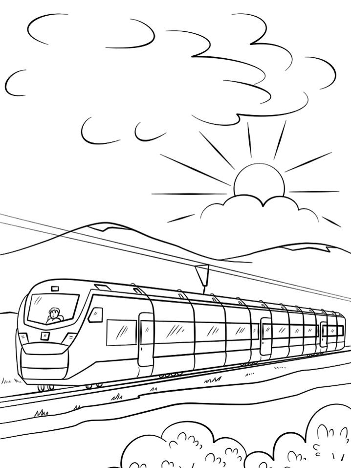 Раскраска Высокоскоростной поезд