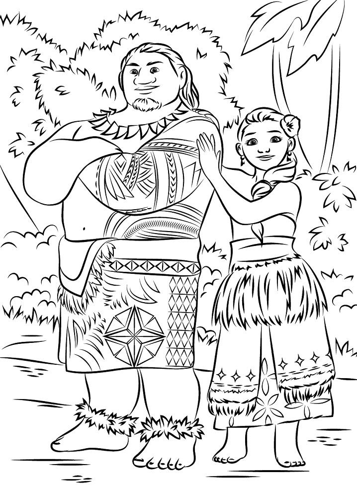 Раскраска Туи и Сина из Моаны
