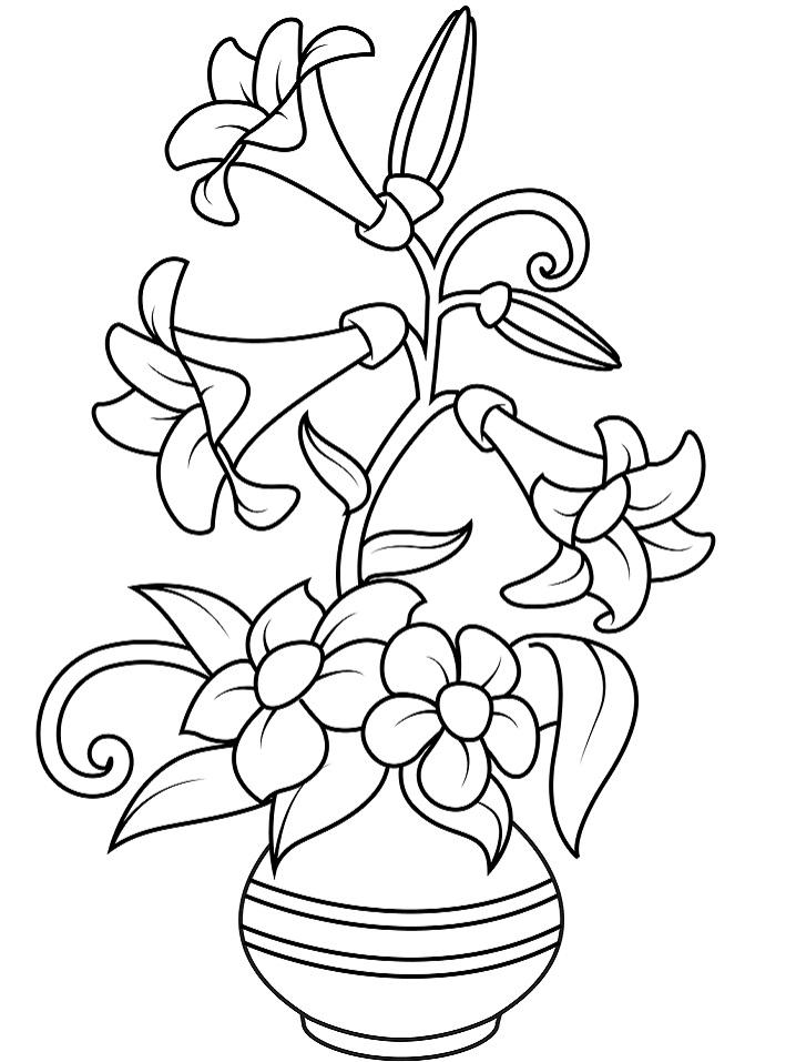 Раскраска Ваза с лилиями