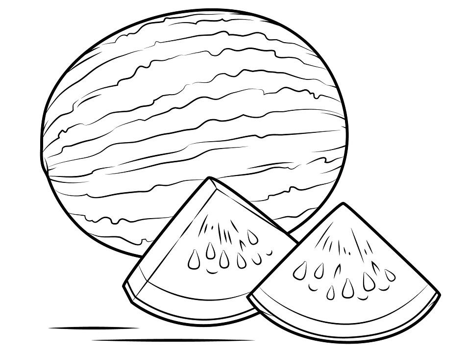 Раскраска Арбузные дольки