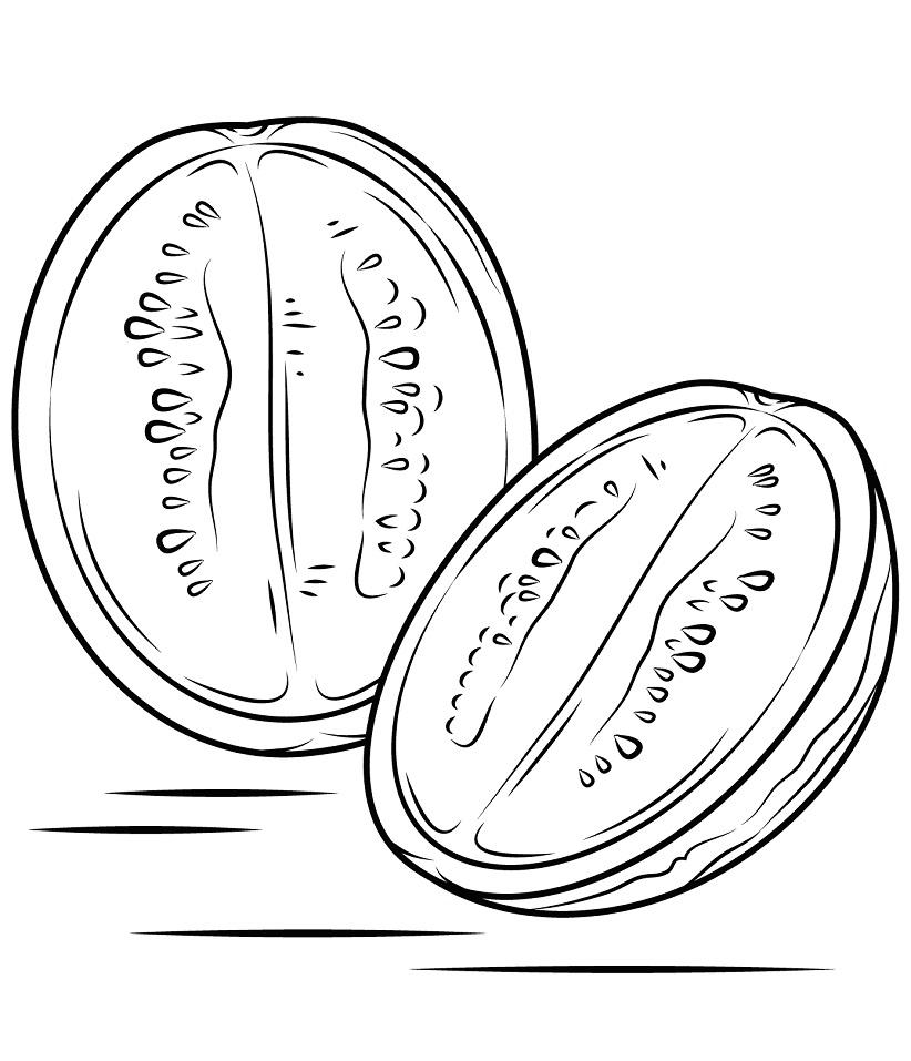 Раскраска Арбуз в разрезе