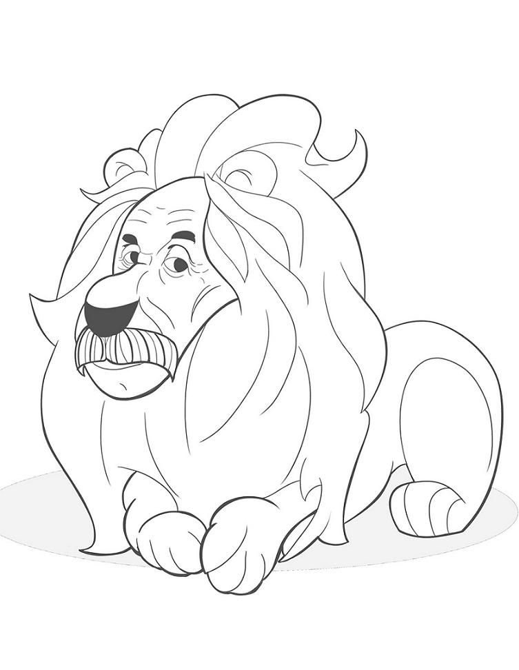 Раскраска Мудрый лев
