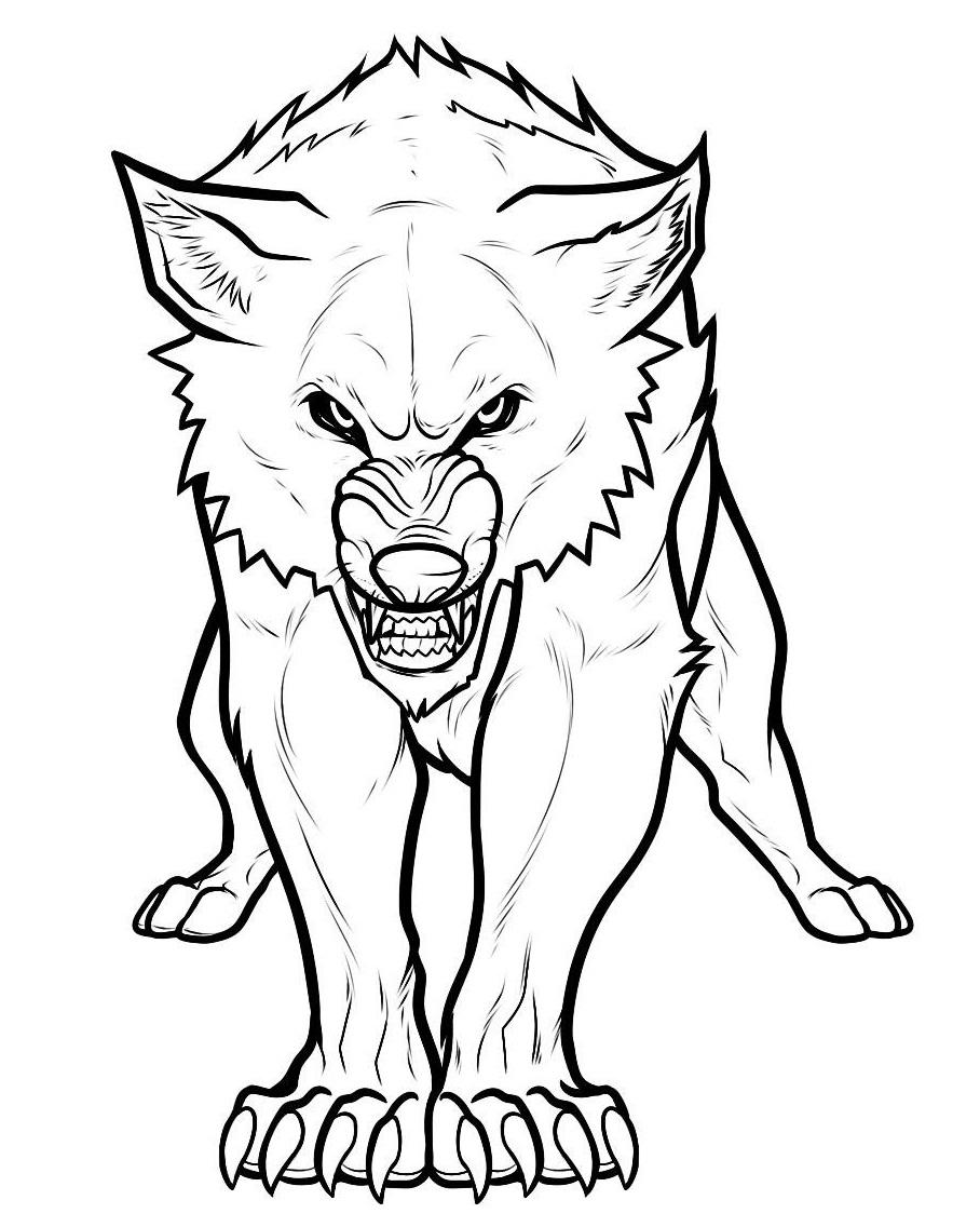 Раскраска злой волк