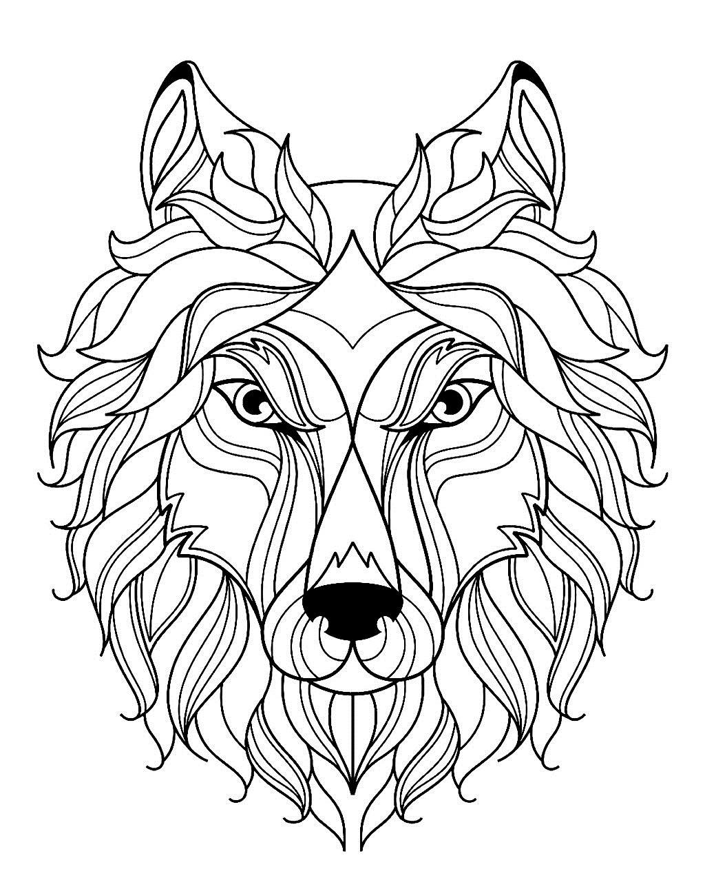 Раскраска морда волка